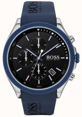 BOSS | vitesse des hommes | bracelet en caoutchouc bleu | cadran noir | 1513717