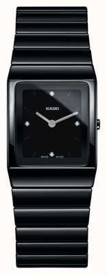 Rado Montre à bracelet en céramique noire avec cadran carré et diamants Ceramica R21702702