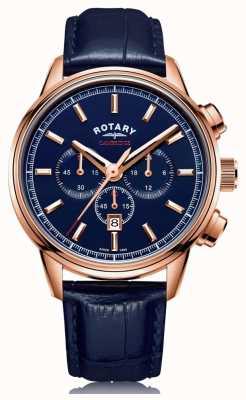 Rotary | chronographe cambridge pour hommes | cadran bleu | cuir bleu | GS05399/05