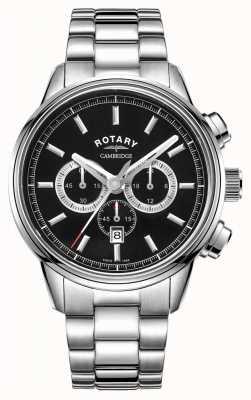 Rotary | chronographe cambridge pour hommes | cadran noir | acier inoxydable GB05395/04