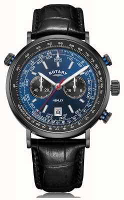 Rotary | chronographe henley homme | cadran bleu | bracelet en cuir noir GS05238/05
