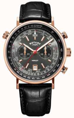 Rotary | chronographe henley homme | cadran gris | cuir noir | GS05237/20