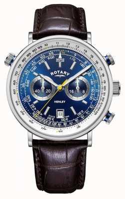 Rotary | chronographe henley homme | cadran bleu | bracelet en cuir marron GS05235/05