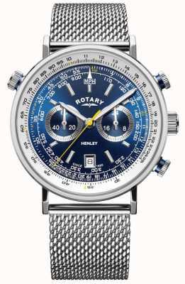 Rotary | chronographe henley pour homme | bracelet en maille d'acier | cadran bleu GB05235/05