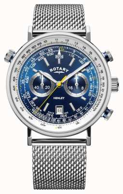 Rotary | chronographe henley homme | bracelet en maille d'acier | cadran bleu GB05235/05