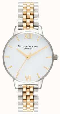 Olivia Burton | femmes | cadran midi | bracelet bicolore | cadran blanc | OB16MDW34