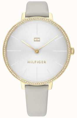 Tommy Hilfiger | kelly des femmes | bracelet en cuir gris | cadran gris / blanc | 1782110
