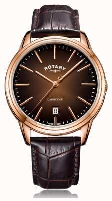 Rotary | cambridge hommes | étui pvd or rose | bracelet en cuir marron GS05394/16
