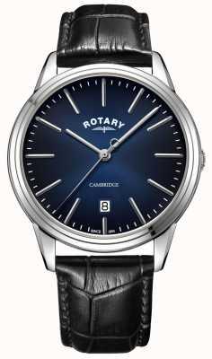 Rotary | cambridge pour hommes | cadran bleu | bracelet en cuir noir | GS05390/05