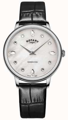 Rotary | kensington des femmes | cadran en cristal swarovski | cuir noir LS05170/41