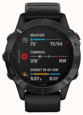 Garmin Verre Fenix 6 Pro Gorilla | montre intelligente multisports | bracelet en caoutchouc noir 010-02158-02