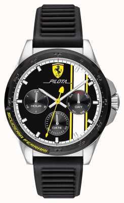 Scuderia Ferrari | pilota hommes | bracelet en caoutchouc noir | cadran noir chronographe 0830659