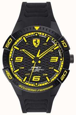 Scuderia Ferrari | apex des hommes | bracelet en caoutchouc noir | cadran noir / jaune | 0830663