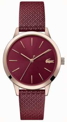 Lacoste | 12.12 femmes | bracelet en cuir bordeaux | cadran bourgogne | 2001092