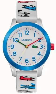 Lacoste | enfants 12.12 | bracelet en caoutchouc blanc imprimé | cadran blanc | 2030021