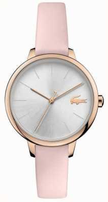 Lacoste | femmes cannes | bracelet en cuir rose | cadran argenté | 2001101