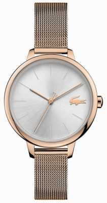 Lacoste | femmes cannes | bracelet maille champagne | cadran argenté | 2001103