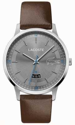 Lacoste | madrid hommes | bracelet en cuir marron | cadran gris | 2011033