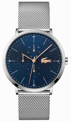 Lacoste | multi lune hommes | bracelet en maille d'acier | cadran bleu | 2011024