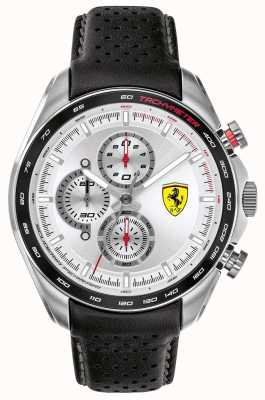 Scuderia Ferrari | coureur de vitesse pour hommes | bracelet en cuir noir | cadran argenté | 0830651
