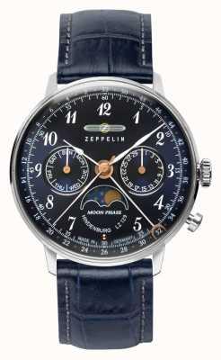 Zeppelin Lz129 montre à quartz hindenburg jour / date phase de lune cadran bleu 7037-3