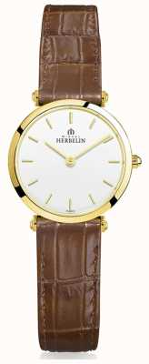Michel Herbelin | les femmes | epsilon | bracelet en cuir marron 17106/P11GO