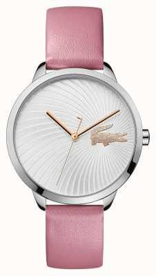 Lacoste | lexi femmes | bracelet en cuir rose | cadran argenté | 2001057