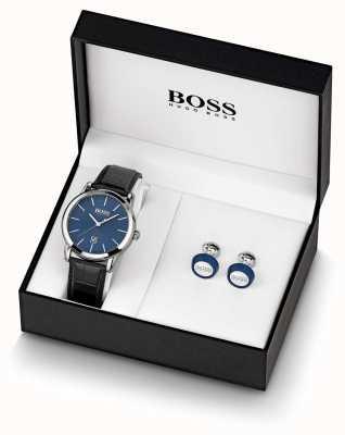 BOSS | hommes | ensemble montre et bouton de manchette bleu | 1570092