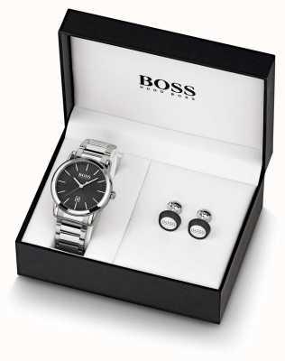Boss | hommes | ensemble montre et boutons de manchette noirs | 1570091