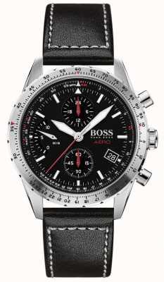 BOSS | aero | chronographe noir | bracelet en cuir noir | 1513770