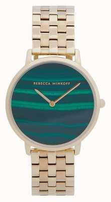 Rebecca Minkoff Majeure femme | bracelet en acier plaqué or | cadran malachite 2200373