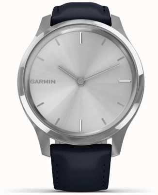 Garmin Vivomove luxe | boîtier en acier inoxydable | cuir italien bleu marine 010-02241-00