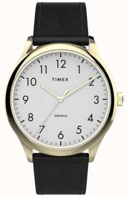 Timex | lecteur facile 40mm | bracelet en cuir noir | cadran blanc | TW2T71700