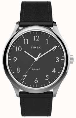 Timex | lecteur facile 40mm | bracelet en cuir noir | cadran noir | TW2T71900