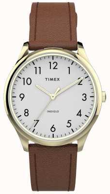 Timex | lecteur facile 32mm | bracelet en cuir beige | cadran blanc | TW2T72300