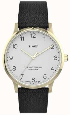 Timex | waterbury pour femmes | bracelet en cuir noir | cadran blanc | TW2T75200