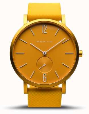 Bering | vraie aurore | bracelet en caoutchouc jaune | cadran jaune | 16940-699