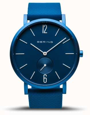 Bering | vraie aurore | bracelet en caoutchouc bleu | cadran bleu | 16940-799