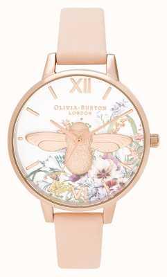 Olivia Burton | les femmes | jardin enchanté | Abeille 3d | bracelet en cuir pêche | OB16EG151