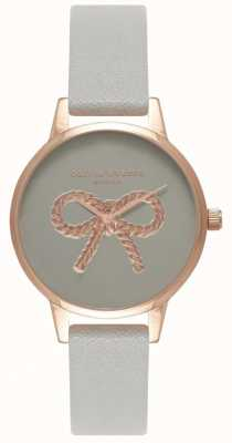 Olivia Burton | les femmes | Arc vintage 3d | bracelet en cuir gris OB16VB04