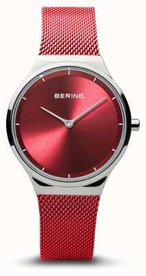 Bering | classique | argent poli pour femme | bracelet maille rouge | 12131-303
