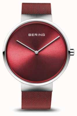 Bering | classique | argent poli / brossé | bracelet maille rouge | 14539-303