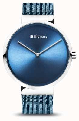 Bering | classique | argent poli / brossé | bracelet maille bleu | 14539-308