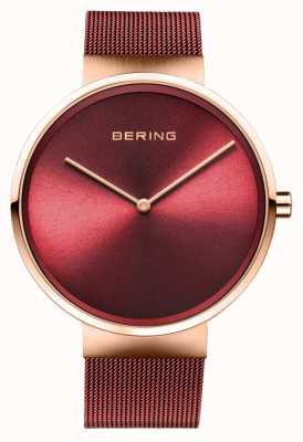 Bering | classique | or rose poli / brossé | bracelet maille rouge | 14539-363