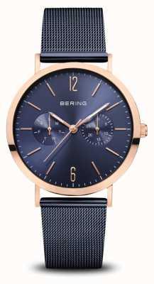 Bering | classique | or rose poli | bracelet en maille bleue | 14236-367