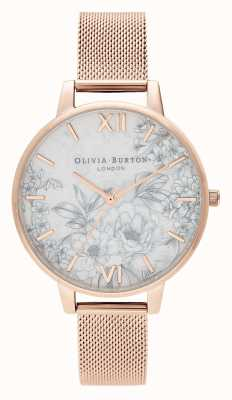 Olivia Burton | les femmes | fleurs de terrazzo | bracelet en maille d'or rose | OB16TZ04