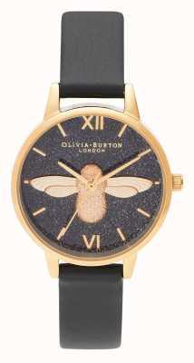 Olivia Burton | les femmes | cadran de paillettes | Abeille 3d | bracelet en cuir noir | OB16GD48