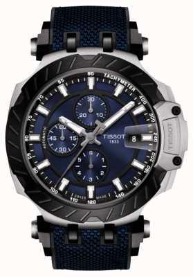 Tissot | t-race | chronographe automatique | bracelet en caoutchouc bleu | T1154272704100
