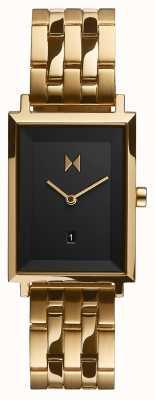 MVMT Carré Signature | bracelet plaqué or | cadran noir | D-MF03-GGR