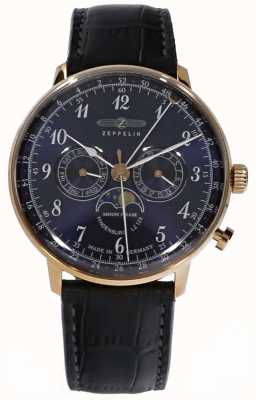 Zeppelin | phase de lune hindenburg | bracelet en cuir bleu | 7038-3